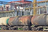 stock photo of railroad car  - Railroad tank wagon and construction site background - JPG