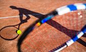Постер, плакат: Shadow of a tennis player in action on a tennis court conceptual image with a tennis ball lying on