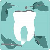 foto of dental  - set of dental instruments and dental care - JPG