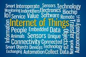 stock photo of blue animal  - Internet of Things word cloud on blue background - JPG
