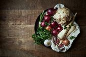 stock photo of root vegetables  - Assorted root vegetables and onions - JPG