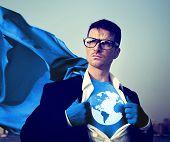 pic of superhero  - Superhero Businessman Earth Logo Concept - JPG