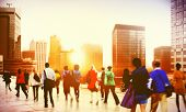image of commutator  - Commuter Business District Walking Corporate Cityscape Concept - JPG