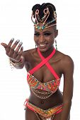 image of brazilian carnival  - Beautiful woman in a carnival costume over white - JPG