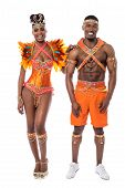 picture of samba  - Samba dancers posing to camera over white - JPG