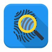 picture of fingerprint  - Fingerprint magnifying app icon with long shadow - JPG