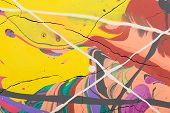 foto of acrylic painting  - Fragment abstract modern painting background with expressive splashes of paint - JPG