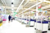 picture of cashiers  - Supermarket store blur background Cashier counter with customer - JPG