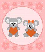 image of koalas  - Happy Holiday background card with funny koalas cartoon - JPG