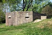 stock photo of emplacements  - British UK machine gun pillbox guard post emplacement of the Second World War positioned at Bodiam near Bodiam Castle - JPG
