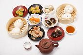 picture of chinese menu  - Group of stream Dim Sum chinese food and hot Tea / Cooking Dim sum concept