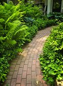 picture of paving  - Paved brick path in lush green summer garden - JPG