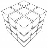 pic of parallelepiped  - Wireframe mesh outline cube - JPG