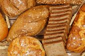 stock photo of whole-wheat  - top view of a variety of whole wheat bread - JPG
