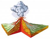 foto of cross-section  - Vector illustration of cross section of volcano eruption - JPG