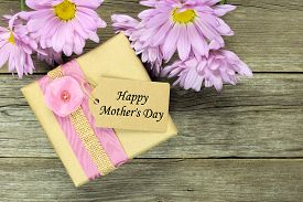 picture of text-box  - Gift box with Happy Mothers Day tag on rustic wood background with soft purple daisies - JPG