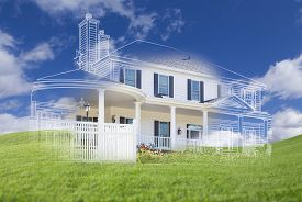 stock photo of draft  - Beautiful Custom House Design Drawing and Ghosted House Appearing Above Green Grass Field - JPG