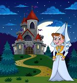 stock photo of ladies night  - Night scene with castle and white lady  - JPG