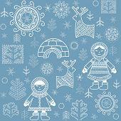 image of eskimos  - Winter abstract wallpaper with Eskimo - JPG
