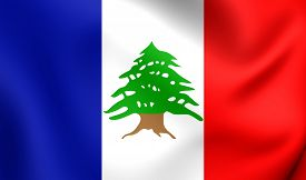 image of mandate  - 3D Flag of the Lebanon during the French Mandate  - JPG