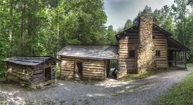 stock photo of cade  - Elijah Oliver Log Cabin located in Cades Cove Area of the Great Smoky Mountains National Park Tennessee - JPG