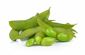 stock photo of soybeans  - green soybeans isolated on a white background - JPG