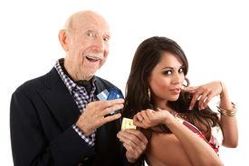 foto of snob  - Rich elderly man with Hispanic gold - JPG