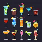 Tropical Cocktails, Juice, Wine And Champagne Glass Set On Black Background. Vector Hand Drawn Doodl poster