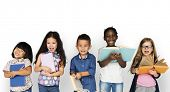 Group of Diverse Kids Reading Books Together Studio Portrait poster