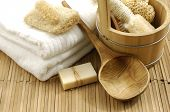 stock photo of washtub  - bath accessories on the bamboo mat - JPG