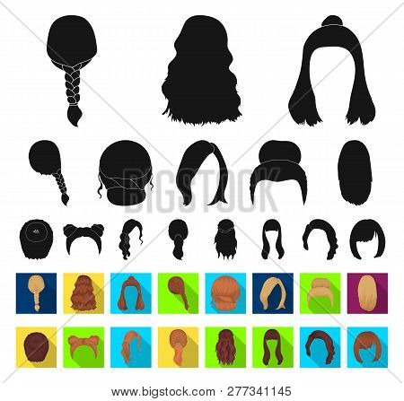 Female Hairstyle Black Flat Icons