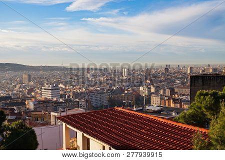 Morning Panorama Of Barcelona Taken