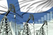Finland Oil And Petrol Industry Concept, Industrial Illustration On Finland Flag Background. 3d Illu poster