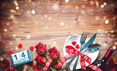 Valentines day table place setting. Holidays background poster