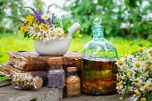 Mortar Of Healing Herbs, Bottles Of Healthy Essential Oil Or Infusion And Dry Medicinal Herbs, Old B poster
