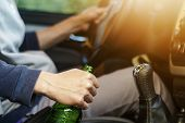 Drinking And Driving , Man Drinking Alcohol And Using Mobile Phone While Driving Car , Concept Drive poster