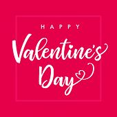 Happy Valentines Day Elegant Lettering Pink Square Banner. Valentine Greeting Card Template With Cal poster