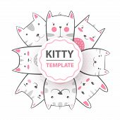 Cute, Cool, Pretty, Funny Crazy Beautiful Cat Kitty Hand Draw poster