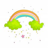 Cute Cartoon Rainbow On Two Green Clouds Icon. Colored Funny Rainbow And Two Clouds With Decoration  poster