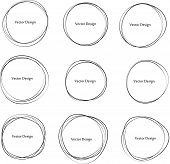 Set Of Hand Drawn Circle Frames. Abstract Grunge Doodle Frames Isolated On White Background. Abstrac poster