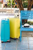 Subject Photo Of Two Suitcases - Blue And Yellow Standing Near Blue Bench In A Park. A White Sweater poster