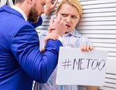 Workplace Bullying Concept. Movement Against Sexual Harassment. Woman Showing A Note With The Text M poster