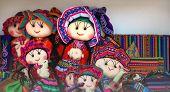 Peruvian Dolls Sale In Souvenir Shop Of Cusco, Peru. Handmade. Close Up Souvenirs Of Peru, In A Trad poster