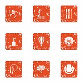 Physical Academic Icons Set. Grunge Set Of 9 Physical Academic Icons For Web Isolated On White Backg poster