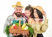 Grown With Love. Parents And Daughter Celebrate Harvest. Harvest Festival Concept. Family Farmers Ga poster