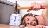 Stop Ringing. Annoying Ringing Alarm Clock. Man Bearded Annoyed Sleepy Face Lay Pillow Near Alarm Cl poster