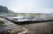 Natural Roman Baths Outdoors With Hot Steam And Thermal Water. poster