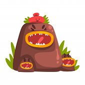 Funny Stone Monster, Colorful Fabulous Creature Cartoon Character Vector Illustration poster