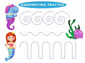 Handwriting Practice Sheet. Educational Children Game, Restore The Dashed Line. The Theme Of Mermaid poster