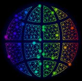 Bright Rainbow Mesh Vector Globe With Glare Effect. Abstract Lines, Triangles, Glare Spots Forms Glo poster